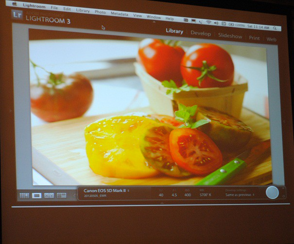 food photography course on screen
