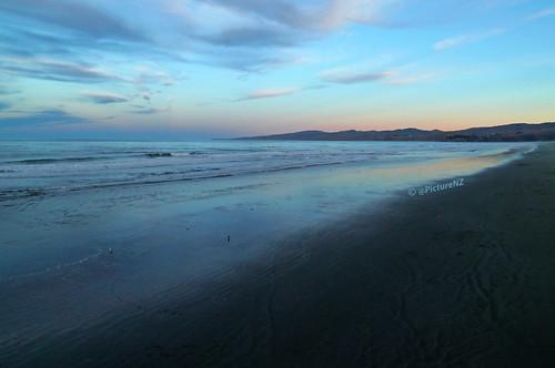 ocean pink blue sunset sea newzealand christchurch beach clouds landscape twilight sand surf waves pacific dusk cyan canterbury nz southisland newbrighton porthills