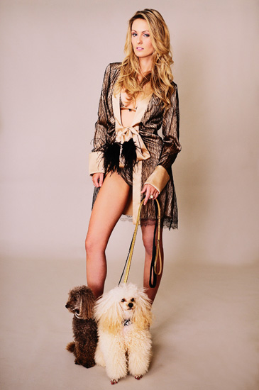 Model with two poodles, High Fashion Lingerie photography in the studio by Kent Johnson, Sydney Austrealia.
