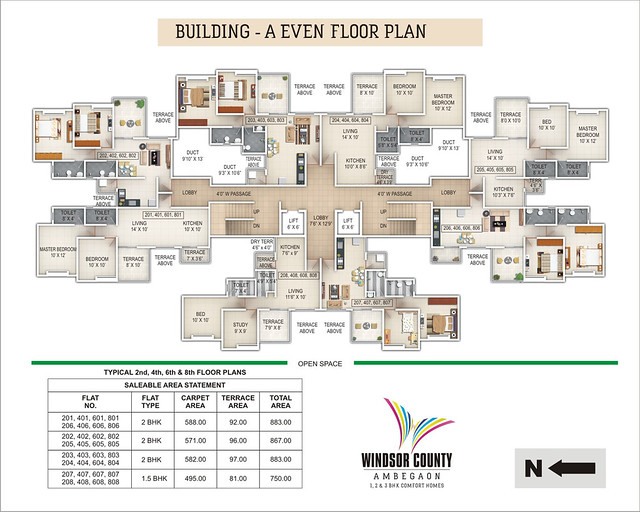 Windsor County Ambegaon Budurk - A Building - Even Floor Plan