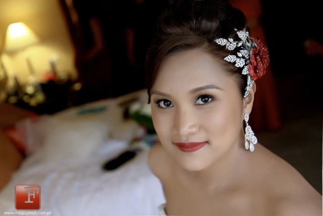 Bridal Styles Bride Ivy wearing her red crystal rose hair comb
