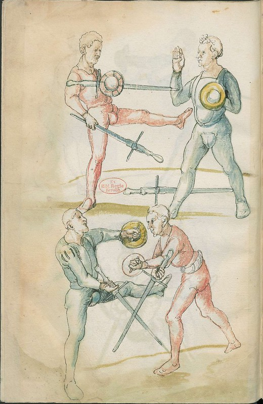 16th century sword fight manuscript drawing - Combat training 2