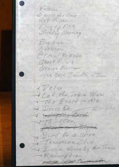 Johnny Cash 1994 setlist
