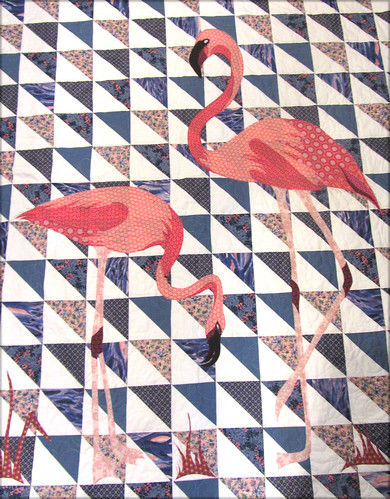 flamingos quilted by nanotchka