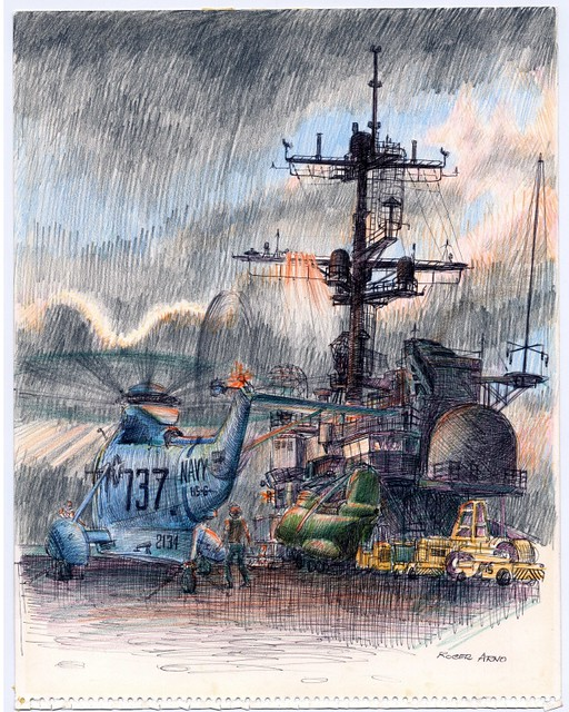 coloured pencil sketch: naval helicopter on deck of aircraft carrier