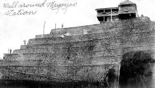 Wall around Mayoyao station, North Central Luzon Island, Philippines, early 20th Century