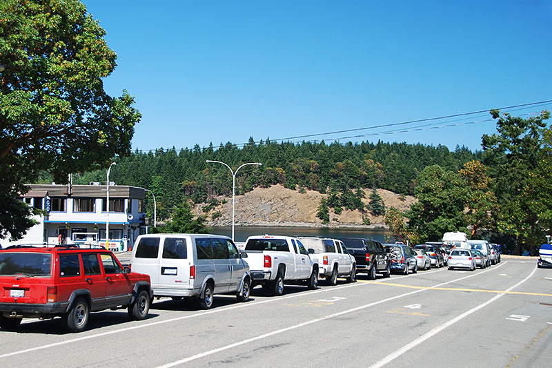 Lineup at the Long Harbour Ferry Terminal, Long Harbour, Saltspring Island, Gulf Islands, British Columbia, Canada