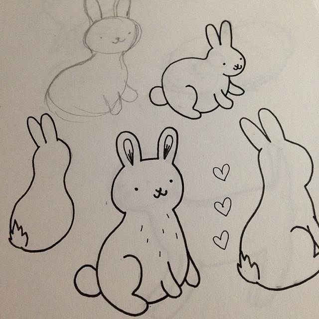 The best part of waking up, is fluffy bunny butts. #bunny #illustration #art