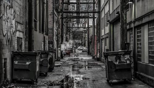 blackandwhite bw vancouver trash dark blackwhite garbage alley downtown bc noiretblanc britishcolumbia smoke clarity structure nb powerlines helmcken powerline desaturated citycentre hiddengem hiddengems viewofthecity billcosbyisonjimmyfallon