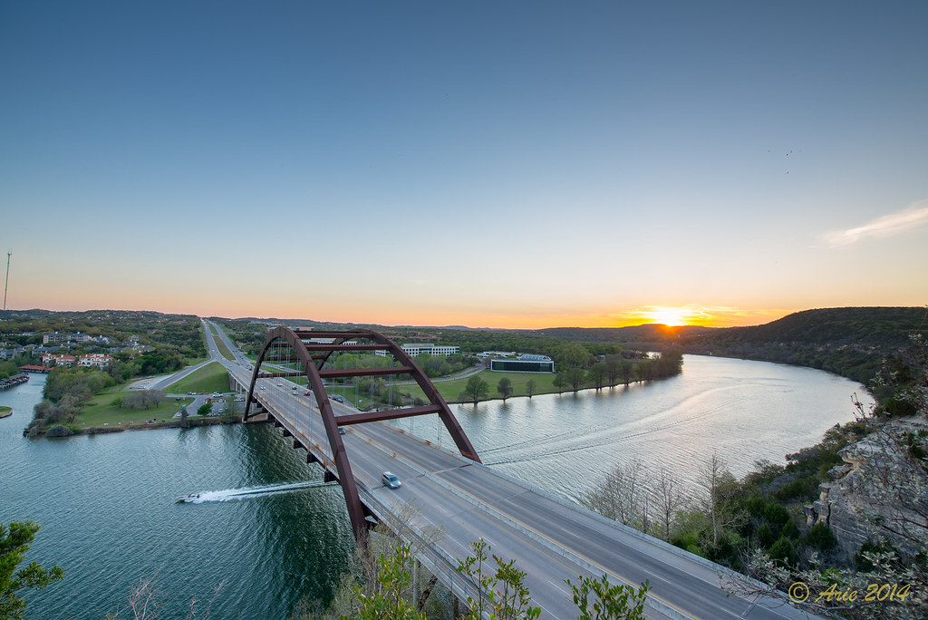 The Pennybacker Bridge at sunset
