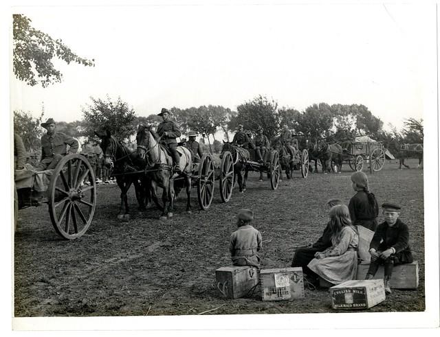 First line transport of a Gurkha Battalion in France [Le Sart]. Photographer: H. D. Girdwood.