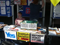 Scottish Socialist Party stall at the University of Stirling, April 2014