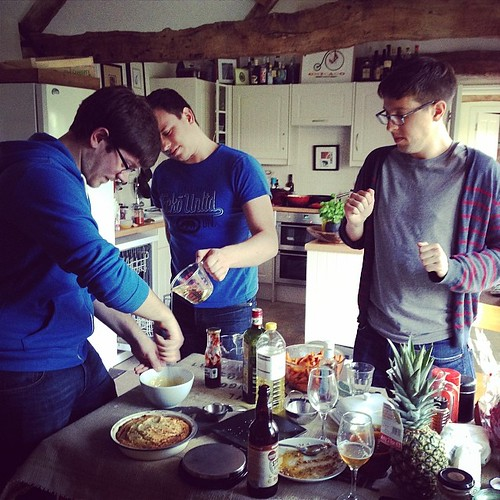It takes three people to make mayonnaise. One to whisk, one to pour, one to dance.