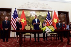 U.S. Secretary of State John Kerry speaks at the signing of a historic partnership to establish a Peace Corps program for the first time in Vietnam, at the Ministry of Foreign Affairs in Hanoi, Vietnam, May 24, 2016. The announcement of the partnership coincides with U.S. President Barack Obama's trip to Vietnam and underscores the United States' broader commitment to supporting the people of Vietnam through English language learning. [State Department photo/ Public Domain]