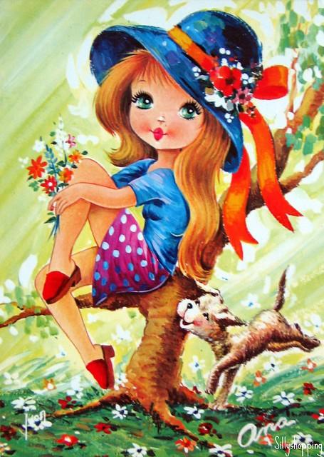 Vintage Big Eyed Girl Postcard  Flickr  Photo Sharing!