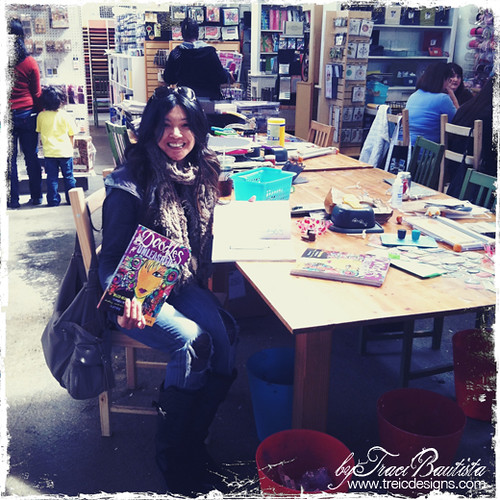 signing copies of Doodles Unleashed at Scrapbook Territory in Berkeley