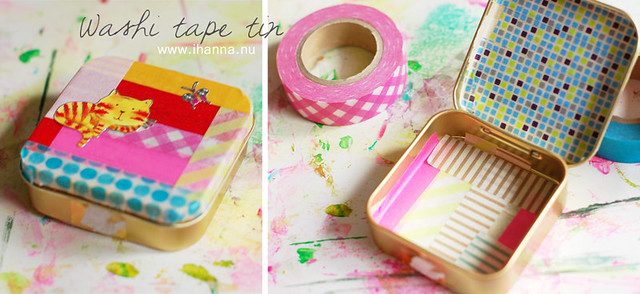 washi tape decorated tin