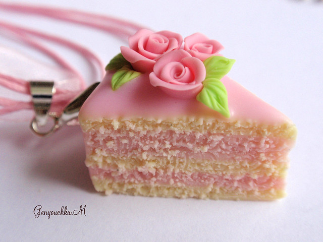 Bijou gourmand pendentif g teau aux roses en fimo flickr photo sharing - Pate fimo gourmandise ...