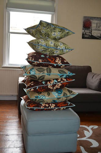 A tower of cushions