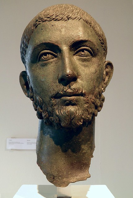 Head from a bronze statue of the Roman emperor Alexander Severus (222-235 AD), from Ryakia, Archaeological Museum, Dion