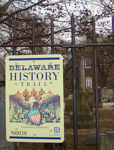 Delaware History Trail sign, Holy Trinity (Old Swedes) Church