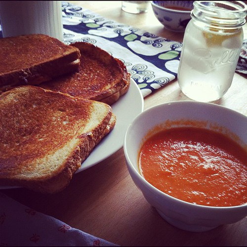Sandwiches and tomato soup