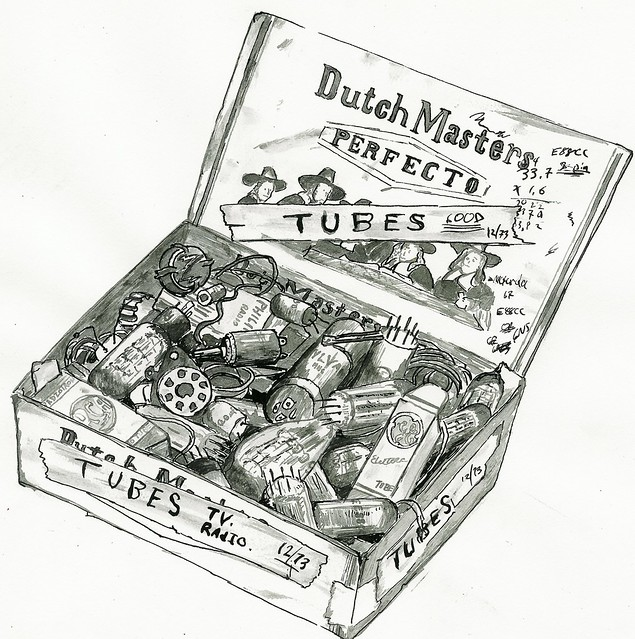 Illustration - Cigar Box of Vacuum Tubes