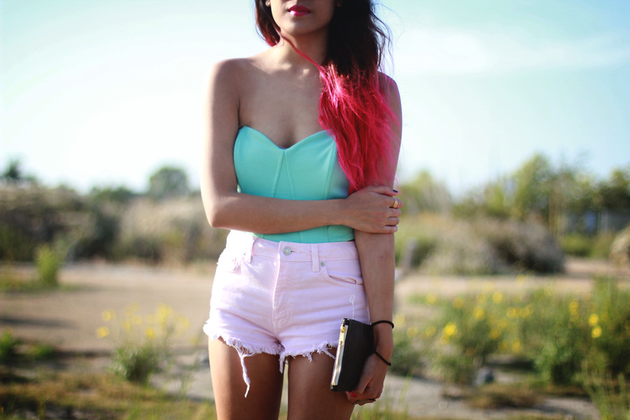 Mint green bustier, pastel pink cut offs, pink ombre hair, white platforms, American Apparel leather clutch by Joellen Lu