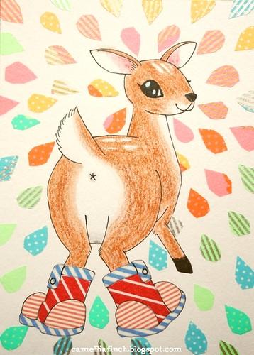 紙膠帶明信片<穿雨靴玩水的小鹿>