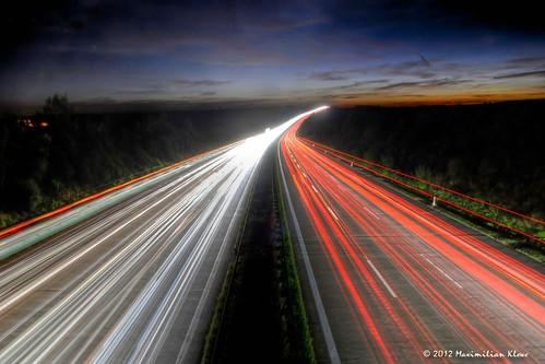 Autobahn zum Sonnenuntergang