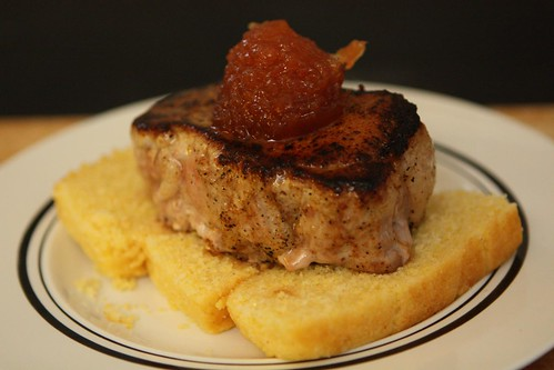 Seared Pork Loin on Cornbread with Quince Paste