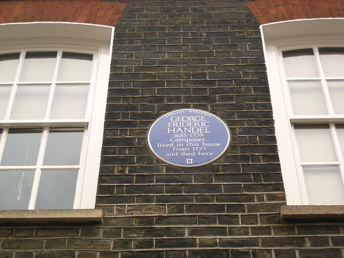 Handel's blue plaque, 25 Brook Street, London