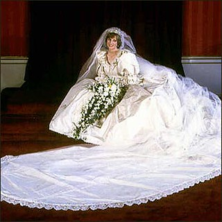 Princess Di in a massive white dress