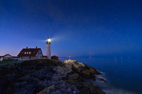 ocean longexposure sky lighthouse water night stars star coast lighthouses atlantic coastal starry portlandheadlight celestial nikcolorefexpro flickrbestpics topazadjust topazdenoise nikdfine20