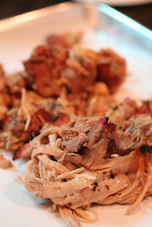 Pulled pork with chicken in background at Nancy's Bar-B-Q Sarasota