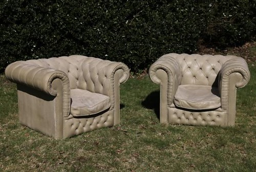 A pair of Chesterfield Chairs, fibreglass re-inforced cast concrete, Lot 446