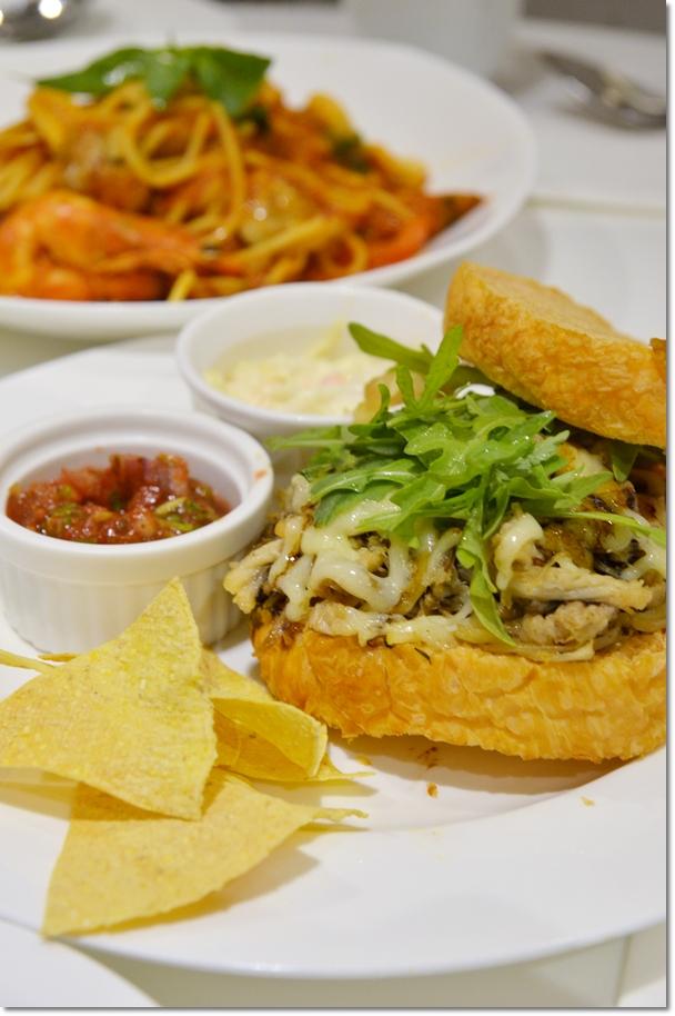 Pulled Pork Ciabatta & Seafood Spaghetti