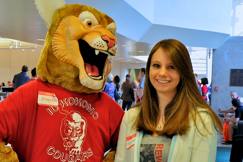 A student with the Cougar