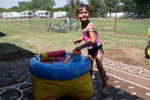 Kaidence has fun in her new pool at our campground which is new to us this year