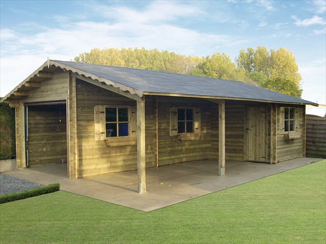 Garage carport avec abri de jardin int gr classique 2 - Carport avec abri de jardin integre ...