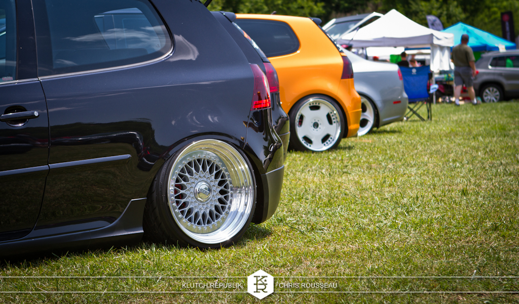 black mk5 vw gti on airride and bbs rs at southern worthersee 2012
