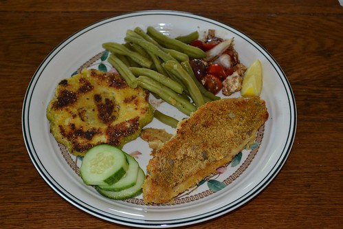Oven Baked Catfish Steamed Green Beans, Pattypan Squash