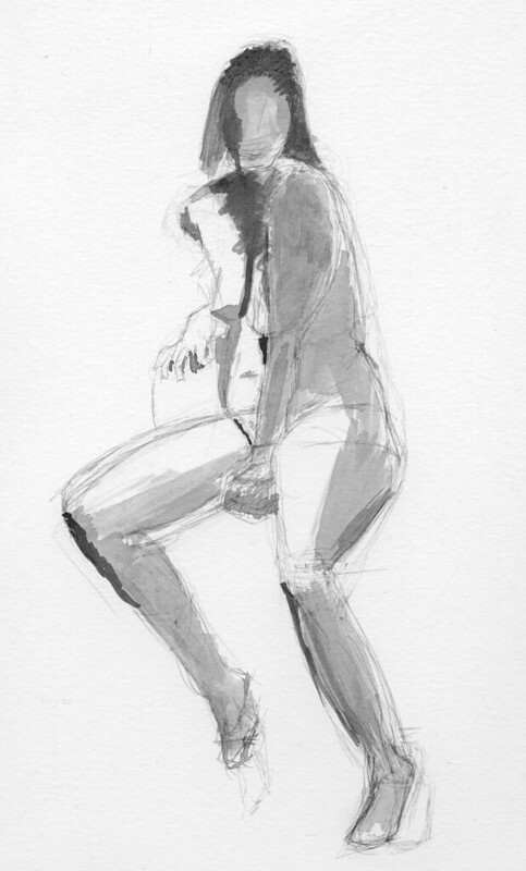 figure drawing - pen & ink wash