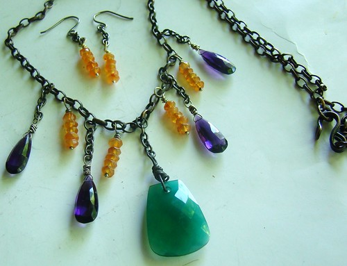 Set of Orange carnelian, green tapezoid, and purple briolette by cthings1
