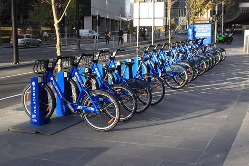 Melbourne Bike Share station down on Collins Street in Docklands