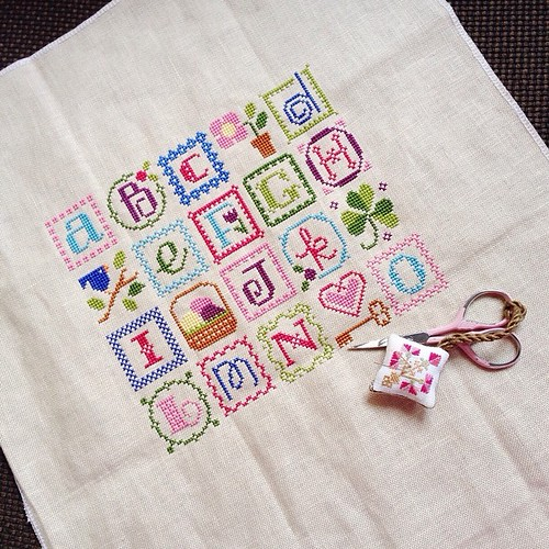 Stitching update on this super sunny thursday in Singapore. (Now that i've said it, it will probably rain. Lol) #lizziekate #springalphabet #crossstitch #sashathestitcher #onestitchatatime #busyhandshappyheart