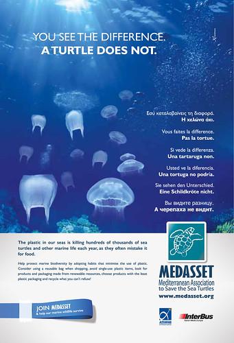 地中海海龜保育協會MEDASSET設計製作的宣導海報。