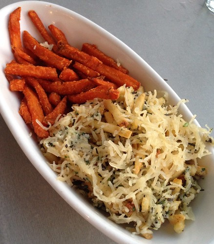 Half sweet potato fries, half parmesan fries.