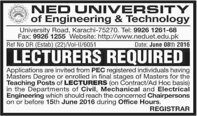 NED University of Engineering and Technology Lecturers Required