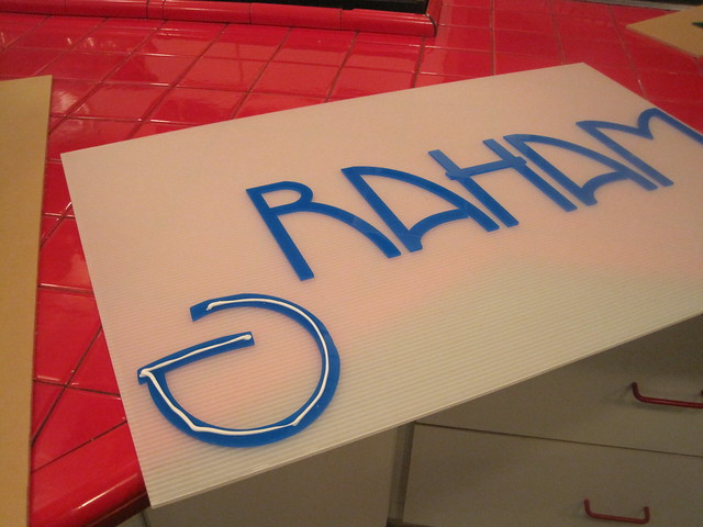 With the pushed out letters, I made another set of signs.  Just attached them to a piece of plasticore.